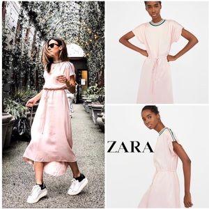 Zara Blush Pink Jersey Stripe Drawstring Dress - M
